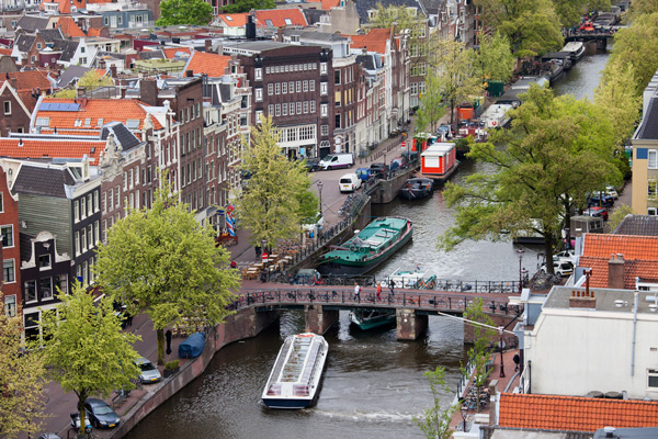 The Prinsengracht in Amsterdam from above